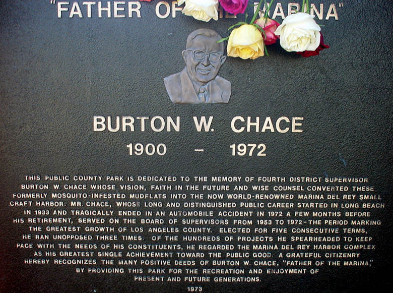 Photo of Burton W. Chace Plaque at Entrance to Burton W. Chace Park